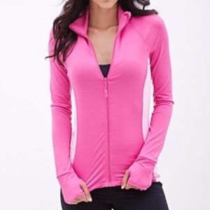 Forever 21 hot pink active zip up jacket XS